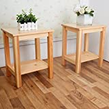 GreenForest Bedside Slim Table Pairs Pine Wood Night Stand Coffee End Table 2pcs/ctn
