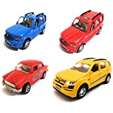 Combo Of 4 Vehicle Toys | Scorpio Car, Scorpio Car, Ambassador Car And Mahindra XUV 500 Car | Toys For Kids |Toys For Show Piece | Miniature/Model Car Toys |Pull Back And Go | Openable Doors | Blue, Red, Red And Yellow Color| Set Of 4 Toys