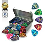 25pcs Guitar picks, AEEN-WORLD high quality Celluloid Plectrums for Acoustic, Electric or Bass