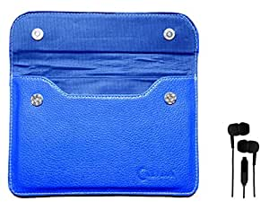 Chevron Leather Pouch Cover Case For Swipe MTV Slash 3G Tablet With 3.5mm Stereo Earphones (Samsung Compatible) - Blue