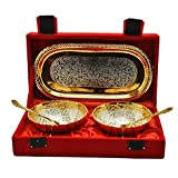 Odna Bichona Return Gift Silver And Gold Plated Brass Bowl And Tray Set - Best Reviews Guide