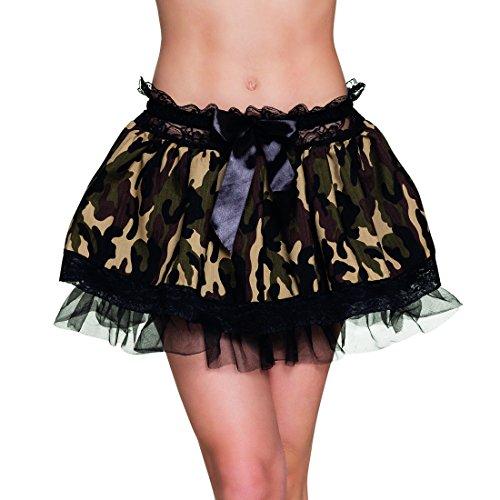 Petticoat Soldatin Rock Tarnfarben Röckchen Tarnmuster Damenrock Militär Look Army Kostüm Zubehör Minirock Camouflage