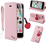 Multi Function Cherry PU Leather Apple iPhone 5C Case Cover - Wallet Case with Card Holder - Flip Stand + Screen Protector + Wrist Strap for Apple iPhone 5C Color Pink