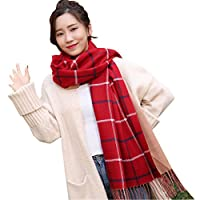Uniui Super Soft Tartan Scarfs for Women Long Plaid Scarfs Shawl Wrap Winter Warm Large Blanket - Ideal Gift for Girls Ladies Friends Family (Red)