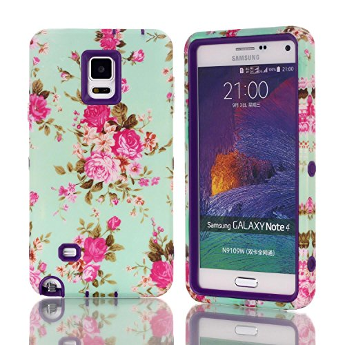 Galaxy Note 4 Hülle, FIREFISH [Slim Fit] Weiche Silikon-und Hard-PC Hybrid-Cover [Shock Proof] Anti-Kratzschutz-Fall für Samsung Galaxy Note 4 Lila