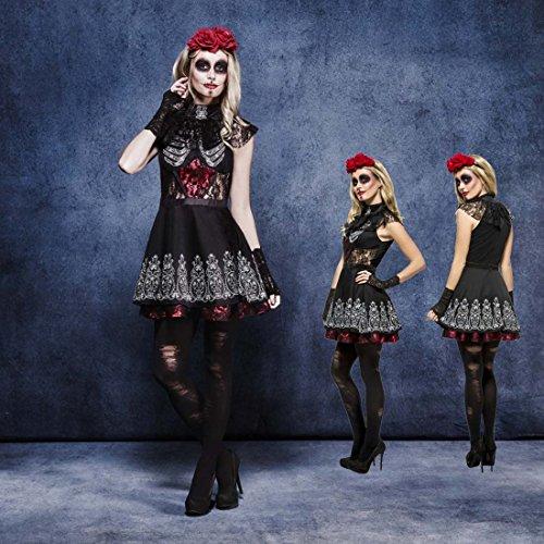 Sexy Sugar Skull Kostüm Gothic Outfit La Catrina S 36/38 Tag der Toten Verkleidung Dia de los Muertos Kleid Calavera Halloween Damenkostüm Mexikanerin (Sexy Outfit Halloween)