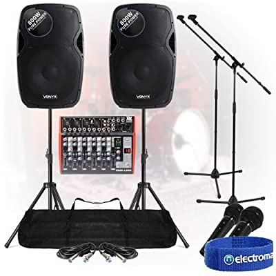 Band PA System 1600W 6-Ch USB Mixer Active Speakers Mic DJ Live Music Set Stands