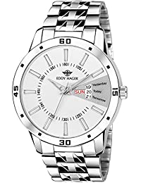 EDDY HAGER Analogue Men's Watch (White Dial Silver Colored Strap)