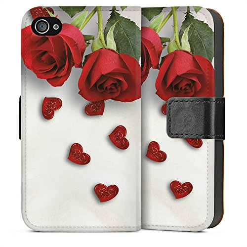 Apple iPhone 5s Housse étui coque protection Rose Roses and Hearts C½ur Sideflip Sac