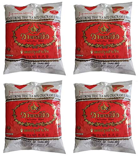 CHA TRA MUE Original Number 1 Brand Thai RED Label Tea Mix Shipped from Thailand! 4 x 400 Grams Red Chaos