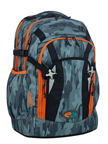 YZEA by Take it Easy Schulrucksack PRO mit Trinkflasche - viele Farben und Dessins (CAMO (Grau Camouflage)) -