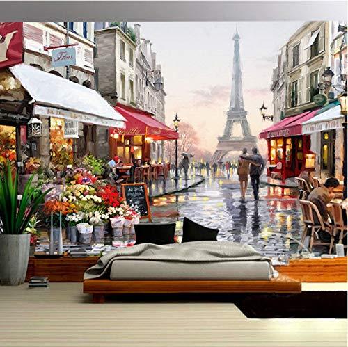 VVBIHUAING 3D Tapete Dekorationen Wand Wandbilder Aufkleber Paris-Stadtstraßenlandschaft Art Bar Kinderküche (W) 200x(H) 140cm - Paris-wand-aufkleber