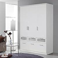 Preisvergleich für Kleiderschrank 3 Türen B 136 cm weiß Schrank Drehtürenschrank Wäscheschrank Kinderzimmer Jugendzimmer Schlafzimmer