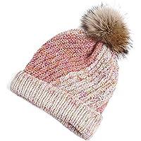 Sombrero Sombrero de otoño e Invierno Grosor cálido Sombrero Tejido a Mano Orejeras Sombrero de Invierno Sombrero de Pelo extraíble (opción de 4 Colores) (Color : C)
