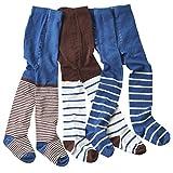 wellyou Baby/Kinder Strumpfhosen für mädchen/Jungen, babystrumpfhose/kinderstrumpfhose Hellblau/Braun 3er Set gr 98-104