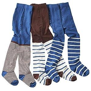 WELLYOU leotardos para bebés/niños medias para niñas/niños, pantimedias conjunto de 2 azul/marrón y rayas. tallas 86-146 9
