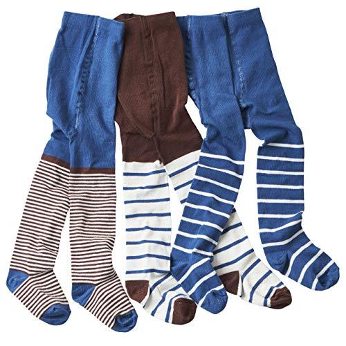 wellyou wellyou Baby/Kinder Strumpfhosen für mädchen/Jungen, babystrumpfhose/kinderstrumpfhose Hellblau/Braun 3er Set gr 86-92