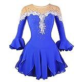 Eiskunstlauf Kleid für Mädchen, Handarbeit Eislaufen Kleider Wettbewerb Kostüm Halbe Ärmeln Rollschuhkleid Strass Blau, 12