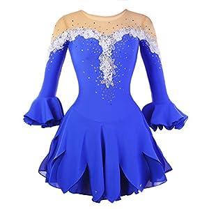 Eiskunstlauf Kleid für Mädchen, Handarbeit Eislaufen Kleider Wettbewerb Kostüm Halbe Ärmeln Rollschuhkleid Strass Blau