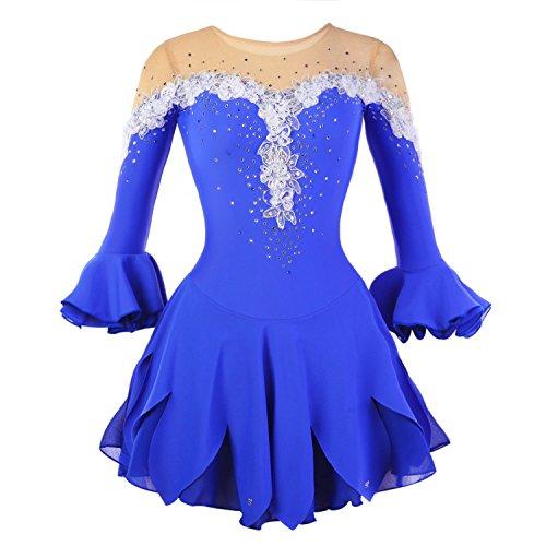 Kostüm Eislaufen Kleid - Eiskunstlauf Kleid für Mädchen, Handarbeit Eislaufen Kleider Wettbewerb Kostüm Halbe Ärmeln Rollschuhkleid Strass Blau, L