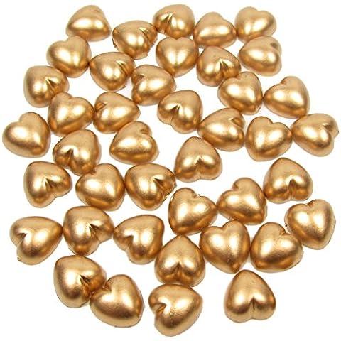 100x Dorado 8mm Pearl plano con forma de corazón de cuentas gemas, para manualidades, decoraciones de mesa de tarjetas, confeti, adornos de bodas