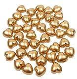 100 x Perle Doré 8 mm avec dos plat perles en forme de cœur Pour bijoux, loisirs créatifs Confettis de Table, décorations de Table