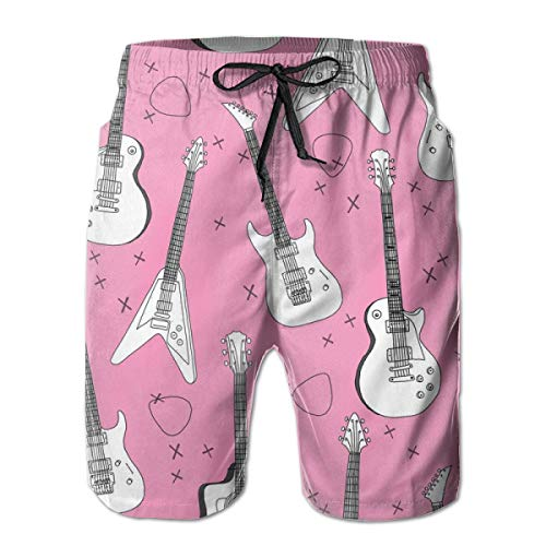 Guitars Pink Guitar Für Mädchen Rock Bands E-Gitarren Print_244 Herren Boardshorts Badehose Surf Beach Holiday Party Badeshorts Strandhose XL