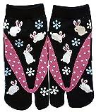Damen Tabi Socken Zehensocken Schneekaninchen