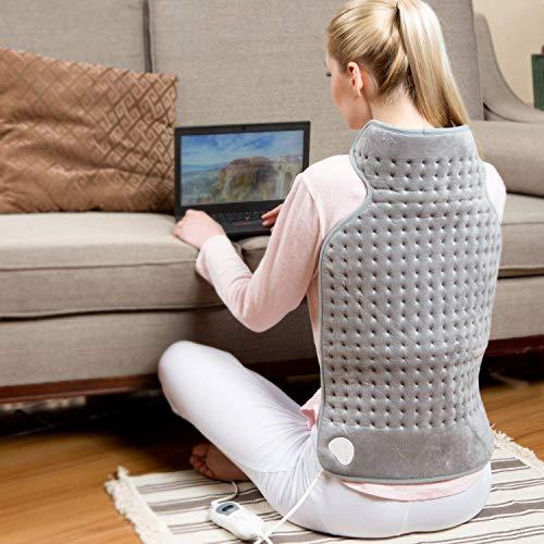 Hangsun Heizkissen für Rücken Nacken Schulter TP260 Wärmekissen Elektrisch mit Abschaltautomatik und 6 Temperaturstufen, 63 x 42 cm, Überhitzungsschutz