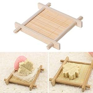 Lunji – Jabonera de bambú natural – soporte de almacenamiento de jabón de baño