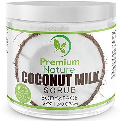 Coconut Milk Body Scrub 12 oz For Face & Body, 100% Natural By Premium Nature