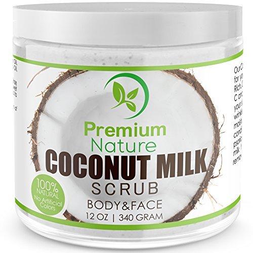 Coconut Milk Body Scrub 12 oz For Face & Body, 100% Natural By Premium Nature by Premium Nature (Kokos-öl-bad)