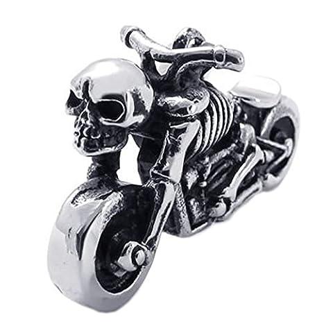 Konov Jewellery Men's Biker Vintage Skull Motorcycle Stainless Steel Pendant