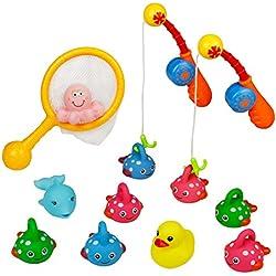 Badespielzeug Angelspiel badespritztiere, Wasser Pool Klingende Spielzeug, Wasser Play Set, Ente Floating Set, Strand Spielzeug Spiel 13 PCS für Kinder ab 3 +