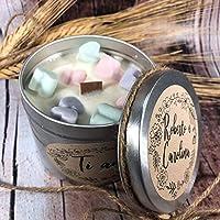 Ti amo Candela in cera di soia e oli essenziali stoppino in legno Anniversario Fidanzamento San Valentino Proposta di matrimonio