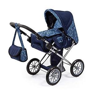 Bayer Design- Cochecito City Star, Plegable, con Bolsa, Moderno, para muñecas de hasta 46 cm, Color azul con estampado (13603AA)