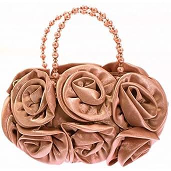 Girly HandBags New Satin Flower Rose Handbag Pouch Pearl Beaded Wedding Prom Evening Clutch Bag