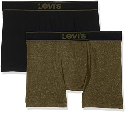 Levi's Herren Levis 200SF Vintage Heather Boxer Brief 2P Shorts, Mehrfarbig (Olive Green/Black 574), Small (erPack 2 - Blue Green Heather