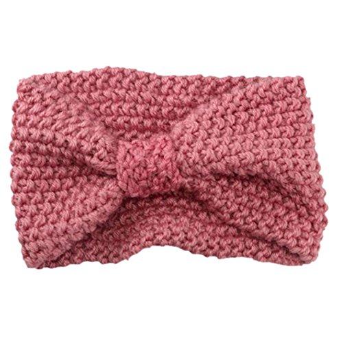 Sanwood Damen Häkelarbeit Schleife Design Stirnband Winter Kopfband Haarband (Rosa) -
