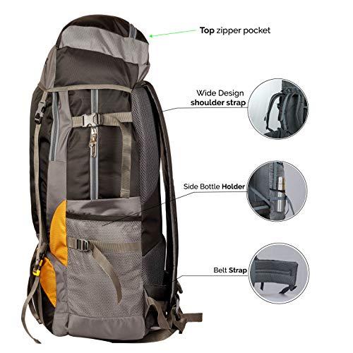 TRAWOC 55 Ltr Travel Backpack for Outdoor Sport Camping Hiking Trekking Bag Rucksack, Black Image 4