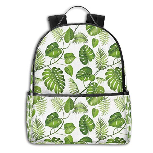 College School Backpacks,Brazilian Rainforest Foliage Nature Ivy Swirls Palm Banana Trees Leaves Art Print,Casual Hiking Travel Daypack -