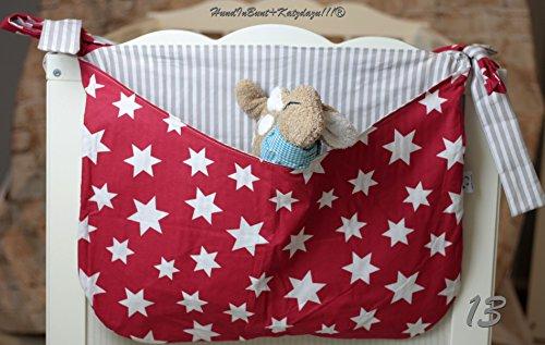 Betttasche rot mit weißen Sternen, Streifen taupe, Utensilo, Laufstalltasche aus Baumwolle