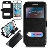 moex iPhone 6S | Hülle mit Sicht-Fenster Schwarz Comfort Cover Stand-Funktion Schutzhülle Ultra-Slim Handyhülle für iPhone 6/6S Case Flip Handy-Tasche