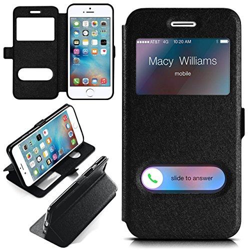 iPhone 6S Hülle mit Sicht-Fenster Schwarz [OneFlow Comfort Cover] Stand-Funktion Schutzhülle Ultra-Slim Handyhülle für iPhone 6/6S Case Flip Handy-Tasche SCHWARZ