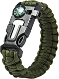 Paracraft Paracord 550 Hiking Camping Bracelet with Compass,Whistle-Military Green