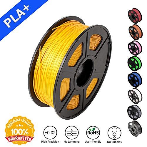 SUNLU 3D Printer Filament PLA Plus, 1.75mm PLA Filament, 3D Printing Filament Low Odor, Dimensional Accuracy +/- 0.02 mm, 2.2 LBS (1KG) Spool 3D Filament for 3D Printers & 3D Pens, Gold Yellow PLA+