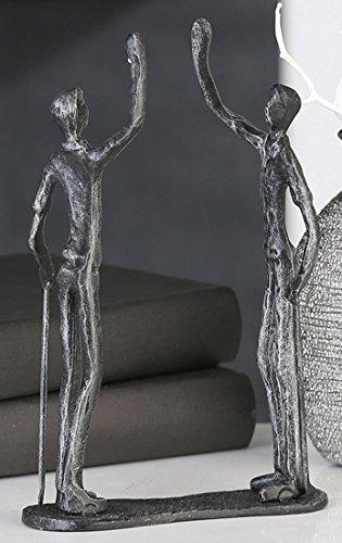Casablanca 74606 Design Skulptur - Dekofigur - Golf Team - Gußeisen - Farbe: antik Silber 21 x 13 x 5 cm