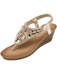 YOUJIA Damen Sandalen mit Keilabsatz Dianetten Strandschuh Zehentrenner  Böhmen Sandaletten Wedges c216170e06