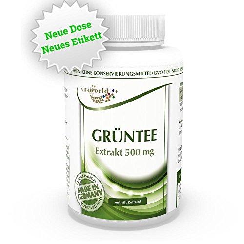 Vita World Grüntee Extrakt 500mg 120 Vegi Kapseln 225 mg EGCG je Kapsel 50% Polyphenole Grüner Tee Deutsche Apotheken Herstellung