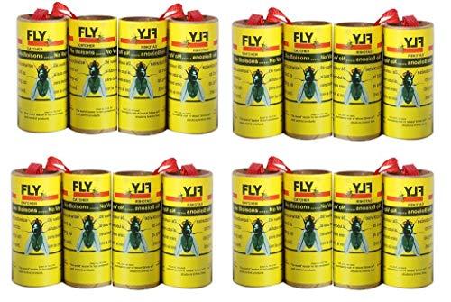 Plai 16 rotolini acchiappamosche, carta moschicida per insetti, atossica - Confezione da...
